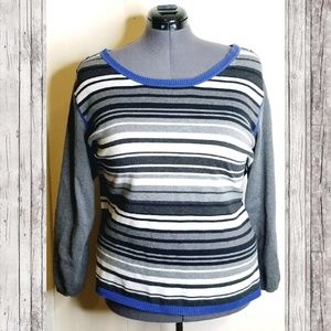 PLUS Tommy Hilfiger Blue Striped Sweater